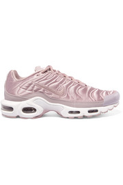 Nike Air Max Plus leather-trimmed matelassé satin sneakers