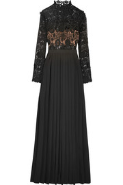 Mia guipure lace and pleated crepe gown