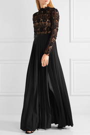 Self-Portrait Mia guipure lace and pleated crepe gown
