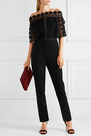 Serena guipure lace and crepe jumpsuit