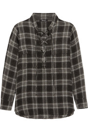 Terrace lace-up plaid flannel shirt