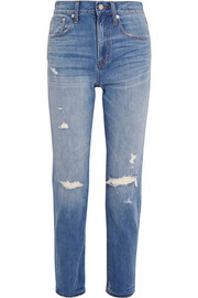 The Perfect Vintage distressed high-rise straight-leg jeans