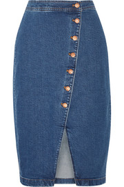 Stretch-denim wrap skirt