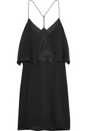 Lace-trimmed silk crepe de chine mini dress