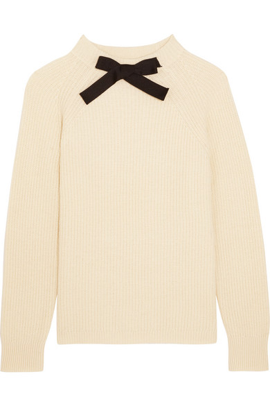 J.Crew - Gayle Grosgrain-trimmed Knitted Sweater - Cream