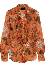 J.Crew Collection ruffled printed silk-chiffon blouse