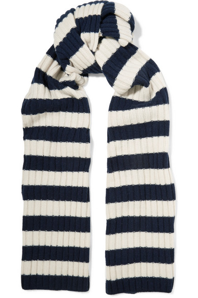 J.Crew - Striped Ribbed Cashmere Scarf - Storm blue
