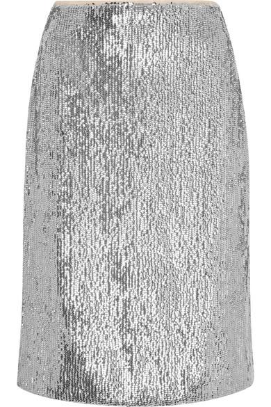 J.Crew - Austen Sequined Crepe De Chine Pencil Skirt - Silver