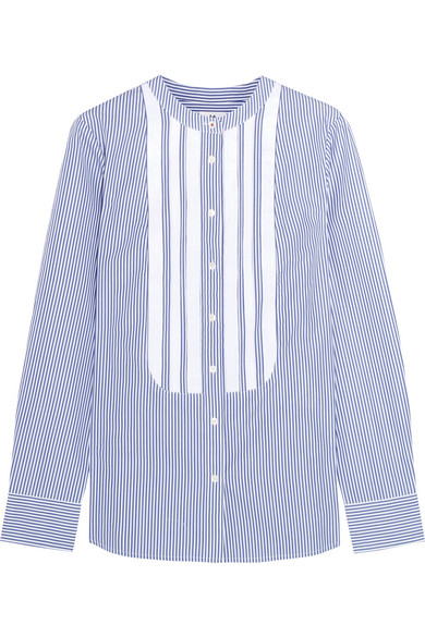 J.Crew - + Thomas Mason Grosgrain-trimmed Striped Cotton-poplin Shirt - Blue