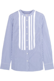 J.Crew + Thomas Mason grosgrain-trimmed striped cotton-poplin shirt