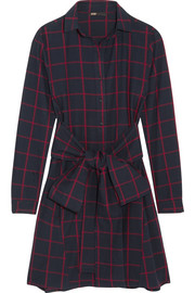 Maje Checked cotton-flannel shirt dress