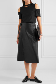 Jacron leather wrap skirt