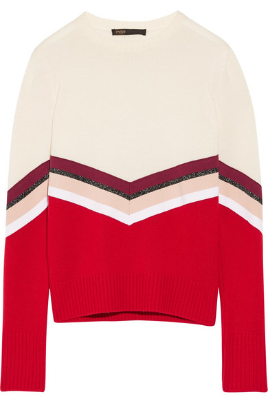 Maje - Striped Wool Sweater - Cream