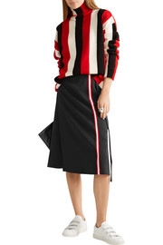 Cotton jersey-trimmed crepe wrap skirt