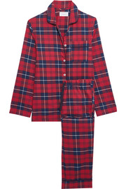 Jamie plaid cotton-flannel pajama set