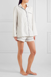 Phoebe striped cotton-flannel pajama set
