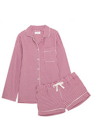 Phoebe checked cotton-flannel pajama set