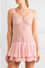 Vanessah tiered silk-chiffon and Chantilly lace chemise