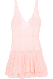 Agent Provocateur Vanessah tiered silk-chiffon and Chantilly lace chemise