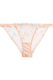 Odette stretch silk satin-trimmed embroidered tulle briefs