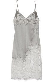 Nayeli Leavers lace-paneled silk-blend satin slip