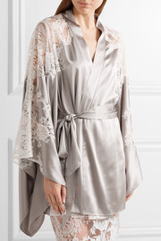 Nayeli Leavers lace-paneled silk-blend satin robe