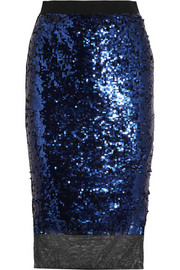 By Malene Birger Mandias sequined stretch-mesh skirt