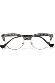 Cutler and Gross Cat-eye acetate and silver-tone optical glasses