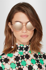 Cutler and Gross Round-frame glittered acetate and gold-tone mirrored sunglasses
