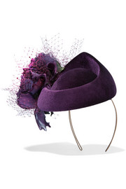 Rosette-embellished veiled velvet pillbox hat