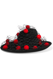 Pompom-embellished veiled wool-felt hat