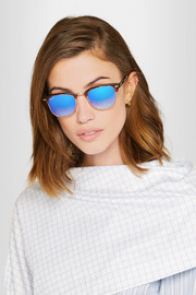 Ray-Ban Clubmaster square-frame acetate and gold-tone mirrored sunglasses
