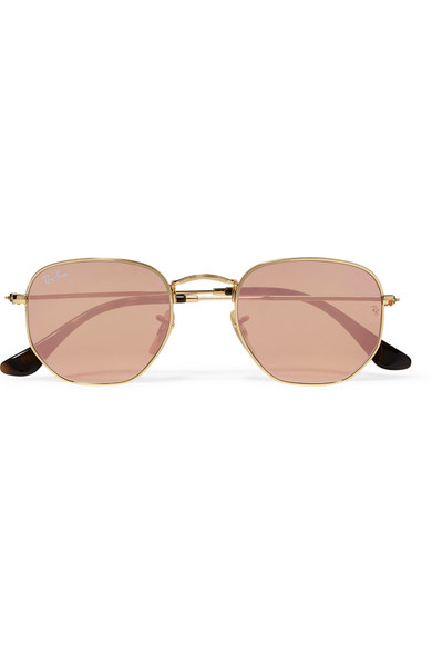 4a6ab22d76 Ray-Ban. Icons square-frame gold-tone mirrored sunglasses