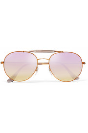 Aviator-style bronze-tone and acetate mirrored sunglasses