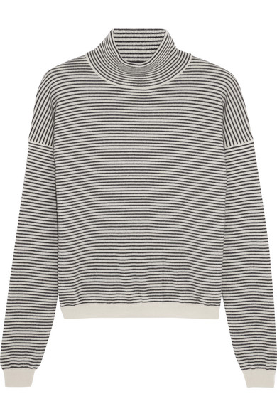 M.i.h Jeans - Malmo Striped Cashmere Turtleneck Sweater - Midnight blue