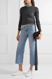 Caron embroidered cropped high-rise wide-leg jeans