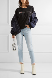 Mimi frayed high-rise slim-leg jeans