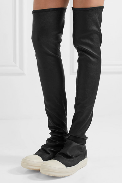 RICK OWENS Over The Knee Stretch Leather Sneakers, Black/White