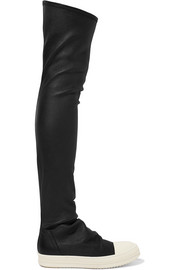 Stretch-leather over-the-knee boots