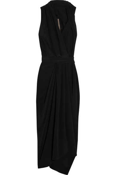 Rick Owens - Crepe De Chine Halterneck Wrap Dress - Black