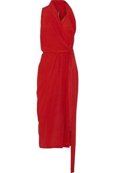 Rick Owens - Crepe De Chine Wrap Midi Dress - Red