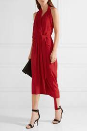 Crepe de chine wrap midi dress