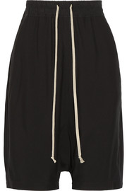 Rick Owens Cotton-trimmed crepe shorts