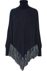 Leather-trimmed cashmere poncho