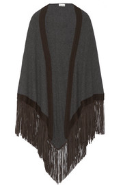 Fringed suede-trimmed cashmere wrap