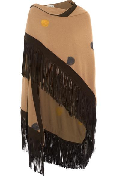 Babjades - Fringed Suede-trimmed Polka-dot Cashmere Wrap - Camel