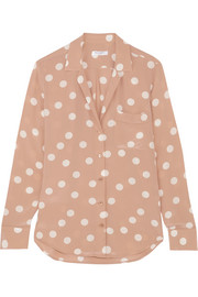 Equipment Keira polka-dot washed-silk shirt