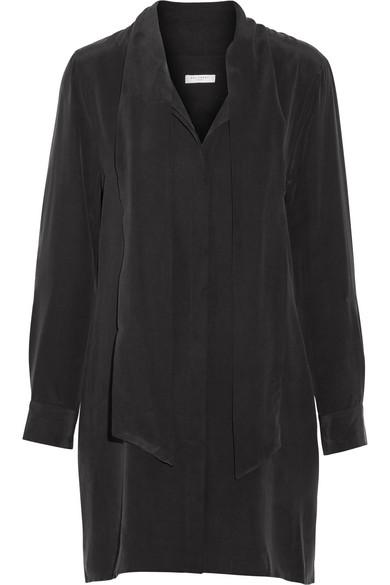 Equipment - Leema Pussy-bow Washed-silk Dress - Black