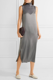 Anika silk-satin midi dress