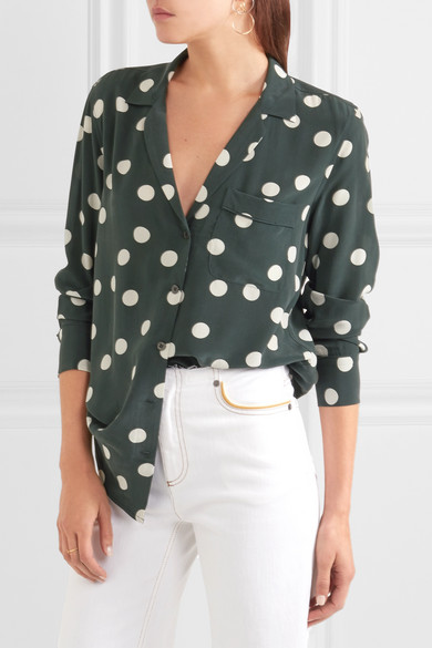 1979fa9d04295 Keira polka-dot washed-silk shirt